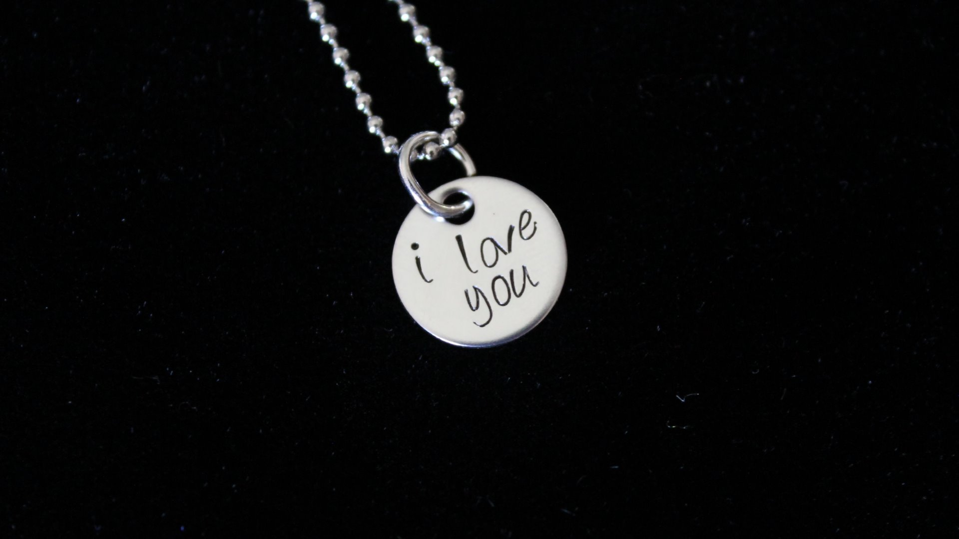 I love you hand stamped pendant great gift love to infinity necklace length aloadofball Choice Image