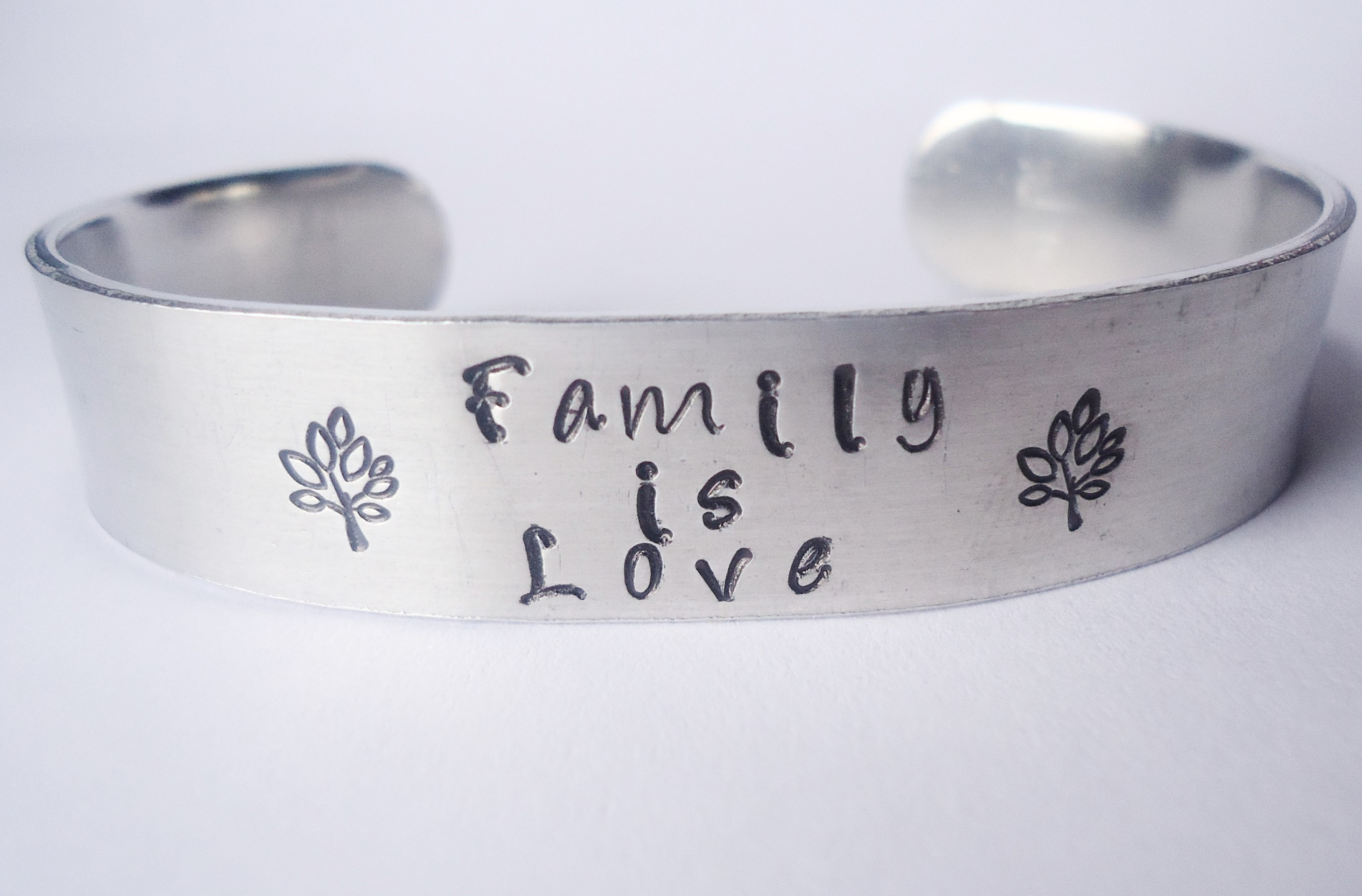 Family Is Love Hand Stamped Cuff Custom Jewelry Bracelet