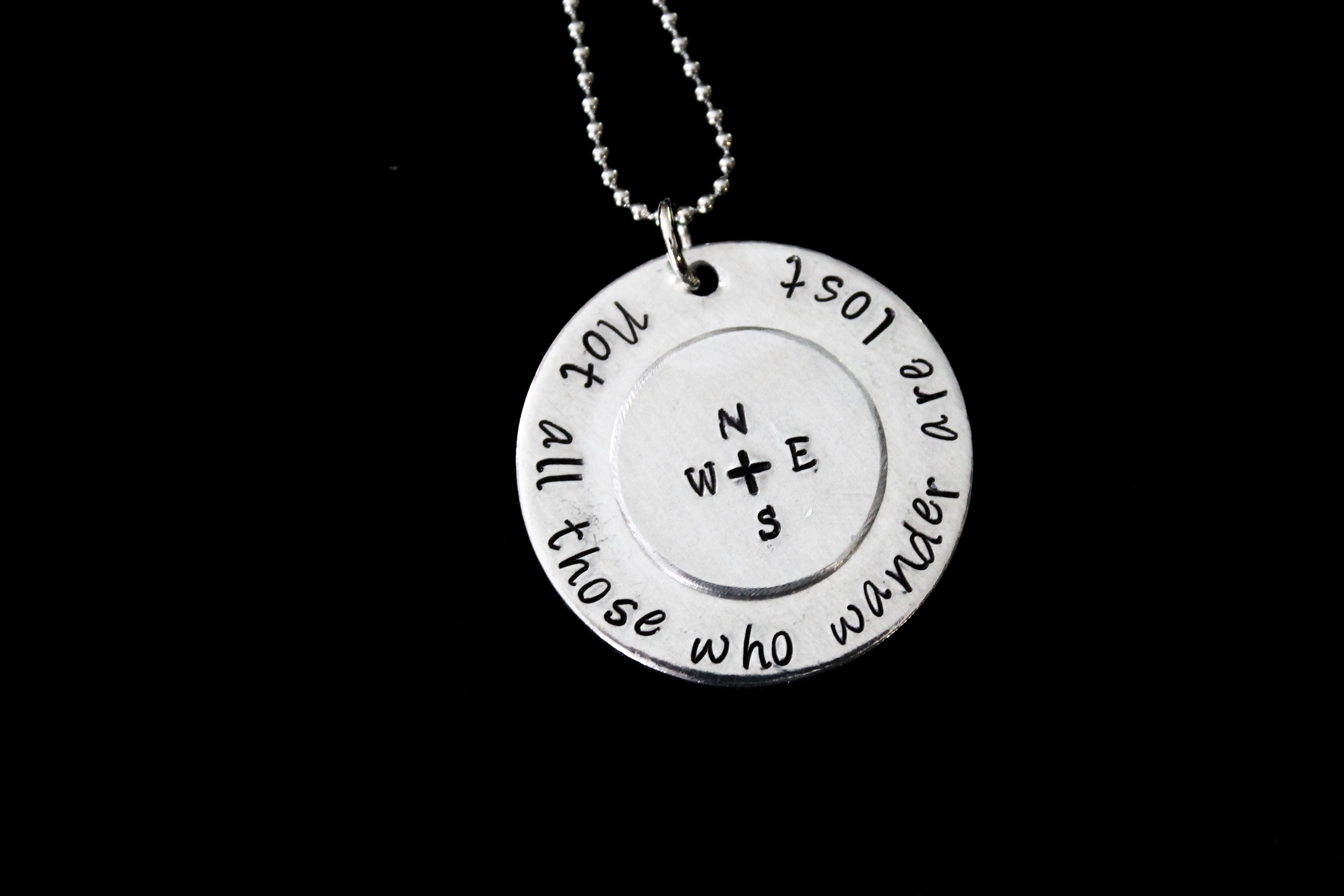Not all those who wander are lost hand stamped pendant with 1900 aloadofball Choice Image