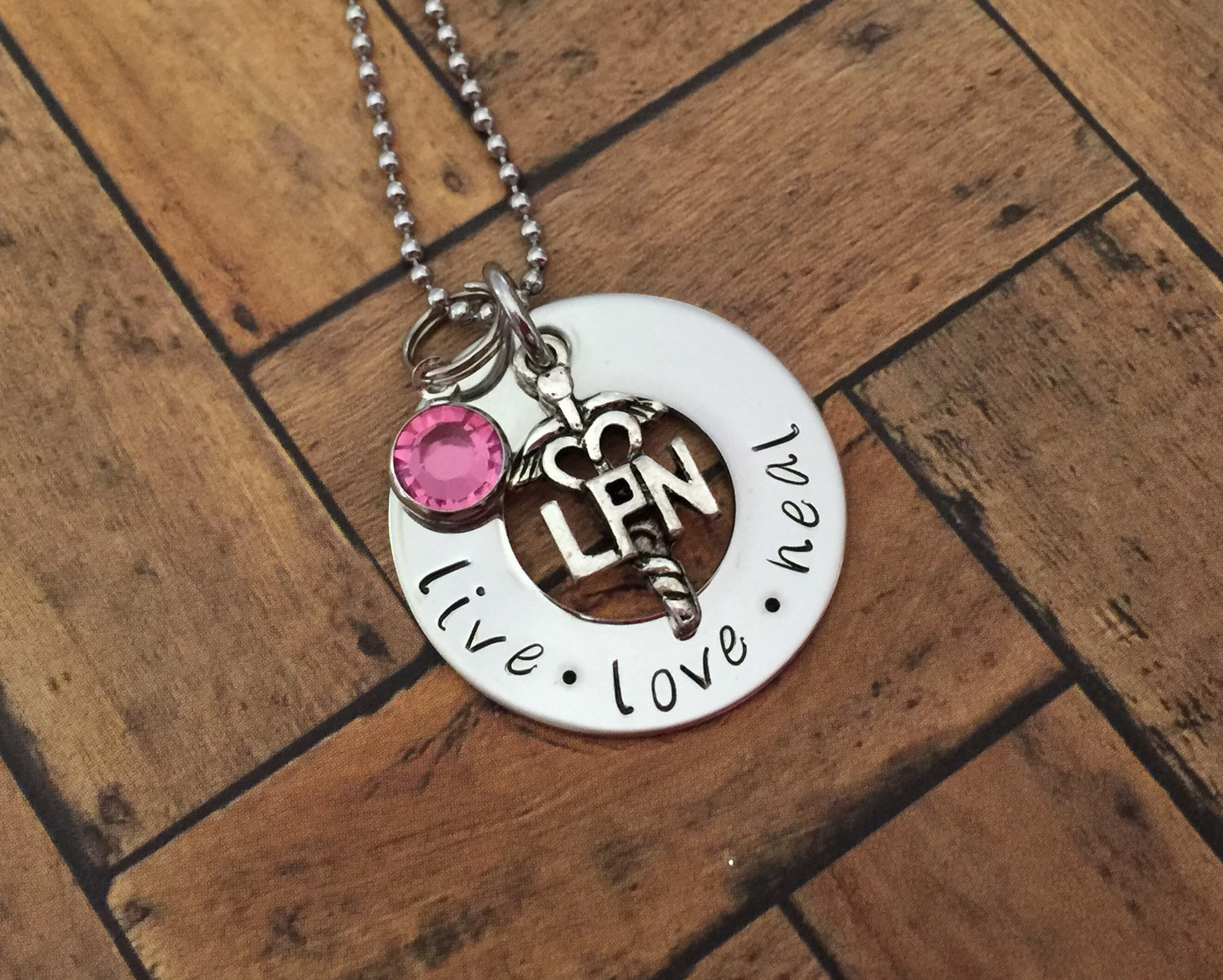 Hand stamped pendants product categories sm made lpn necklace nurses nursing student nurse gift hand stamped stainless steel pendant with swarovski birthstone aloadofball Gallery