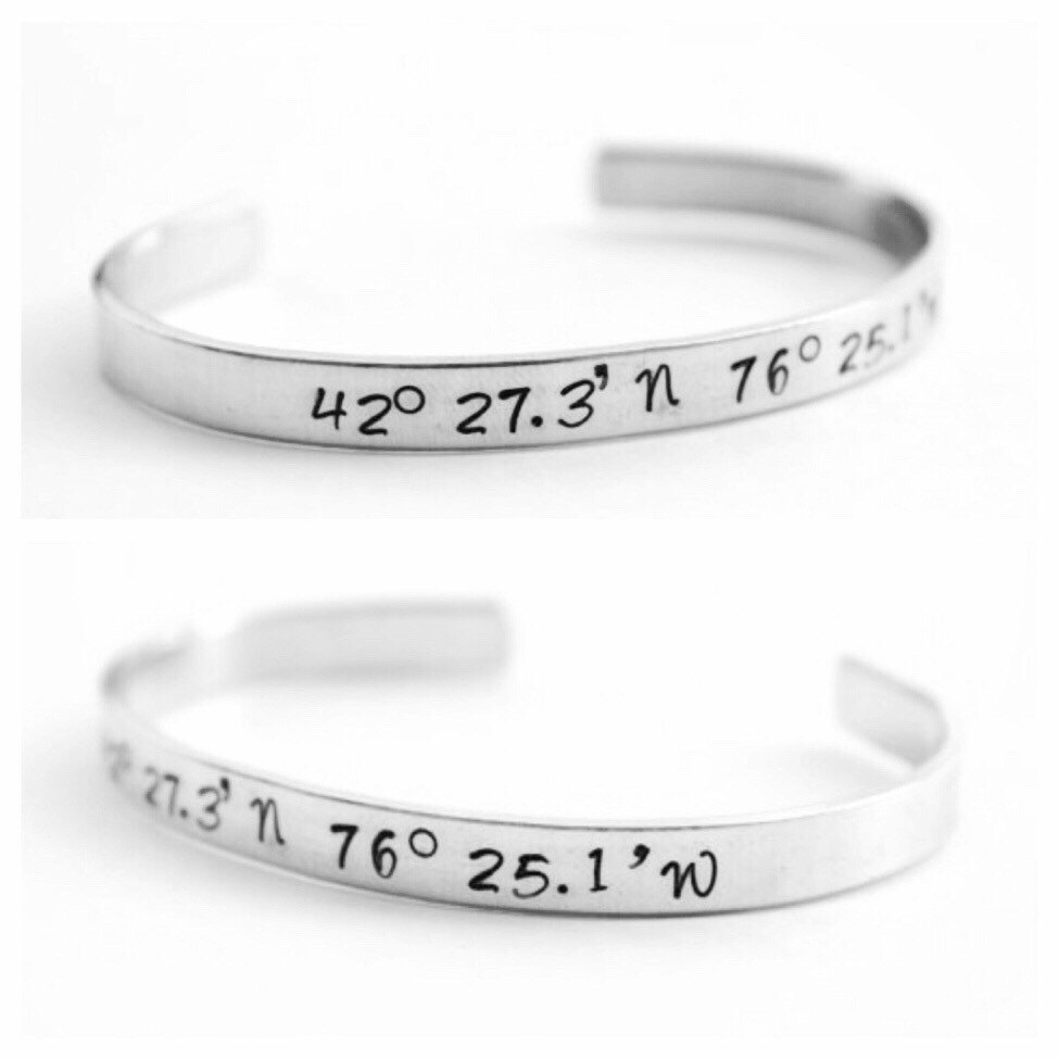 gift friendship pin coordinate coordinates bracelet gps custom