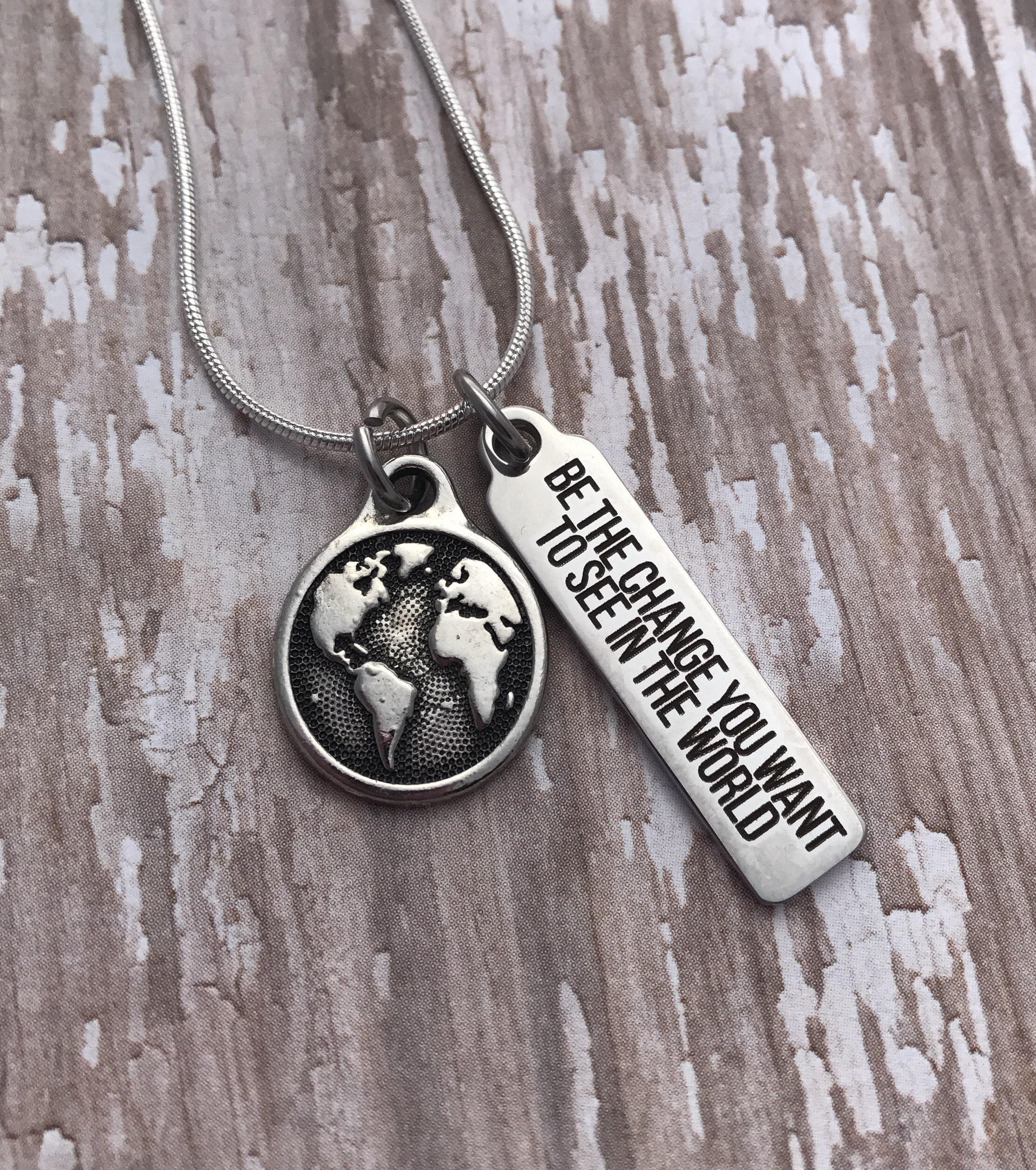 Be the change inspirational one person at a time world peace be the change inspirational one person at a time world peace hand stamped necklace be the change you want to see in the world sm made aloadofball Image collections