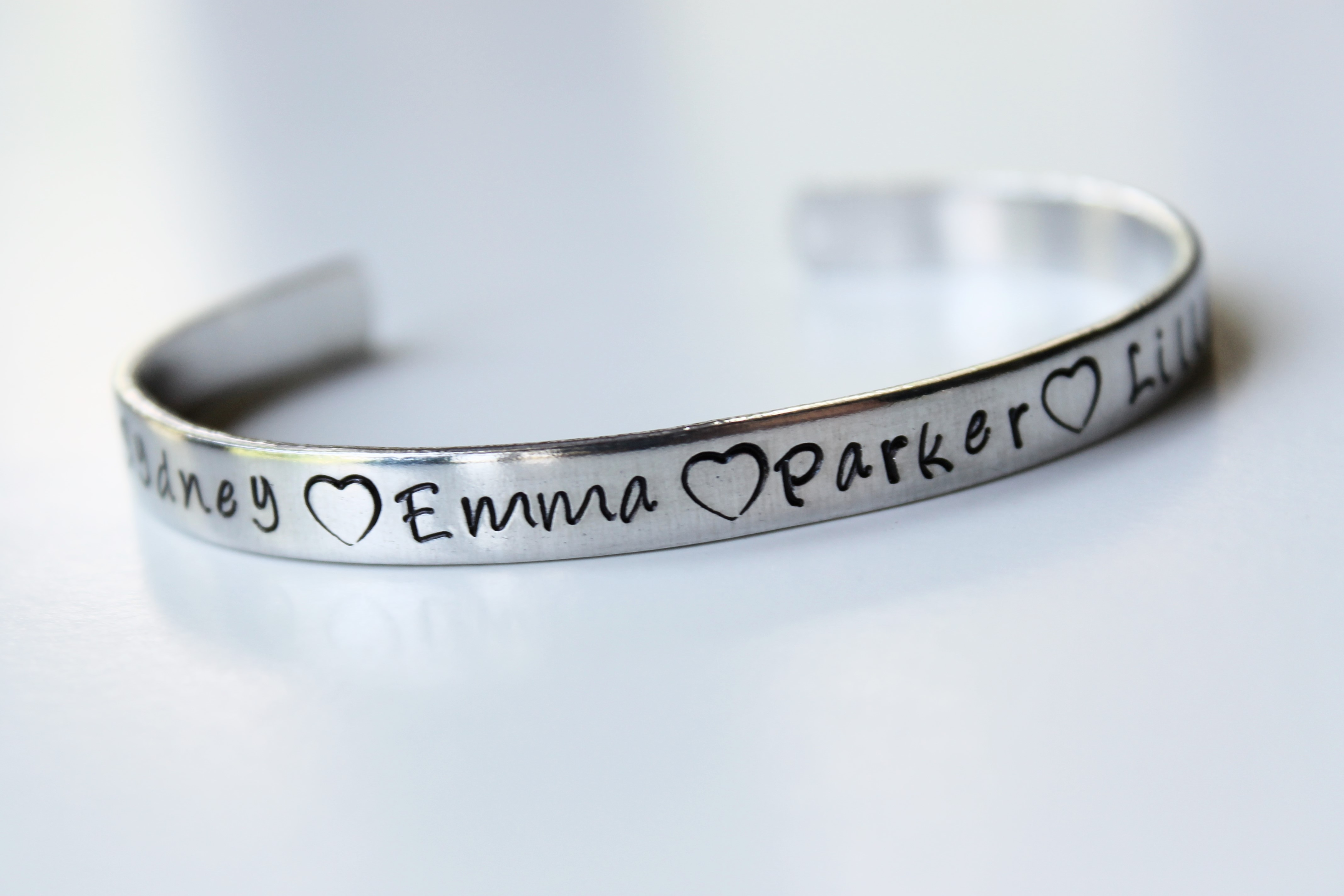 Personalized Names Bracelet Cuff Made Just For You Custom Bracelet Hand Stamped Cuff Bracelet