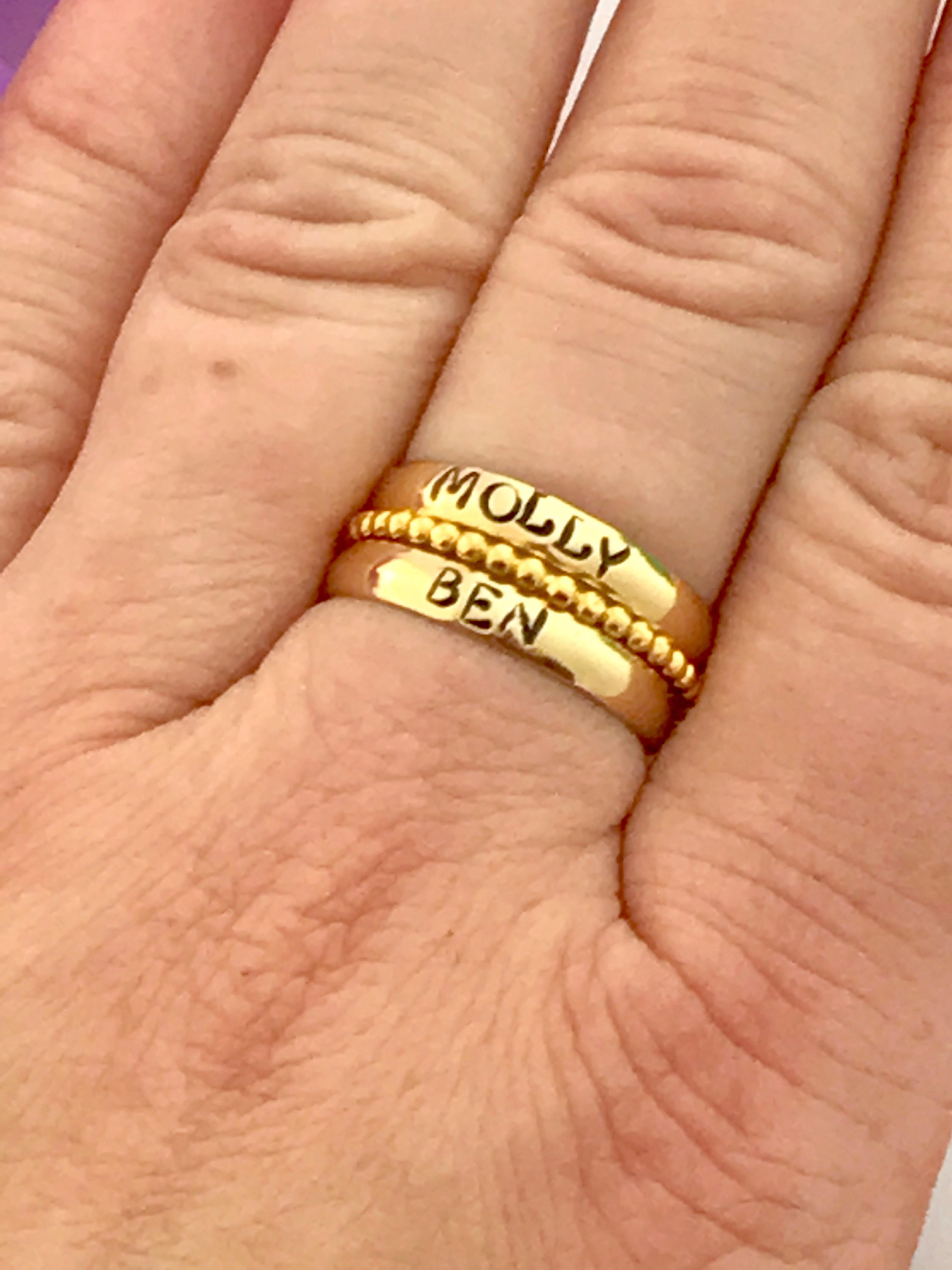 GOLD personalized stacking rings 14k gold Custom name ring stacking ring  personalized - hand stamped ring - very sturdy ring -