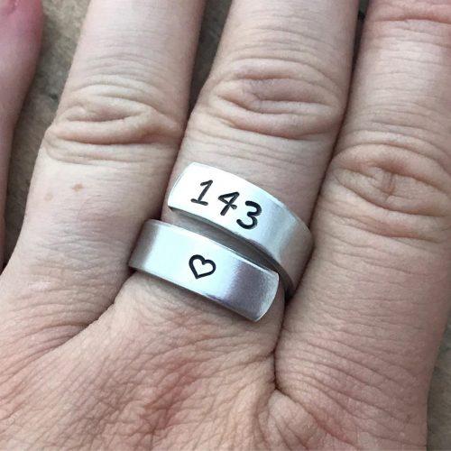 Hand Stamped Rings - wrap rings